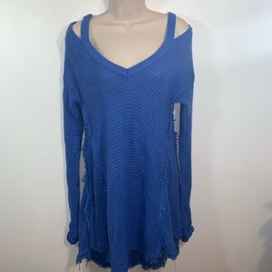 Hayden Los Angeles S Sweater Dress Blue Distressed